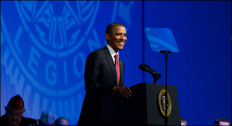 There was no toe tapping -- and not much buzz -- Tuesday for President Obama as he addressed Legionnaires  at their convention.