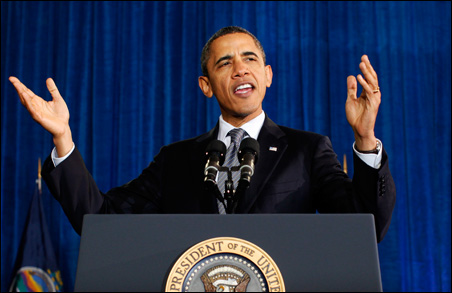 President Barack Obama speaking about the economy during a visit to Osawatomie High School in Kansas on Tuesday.