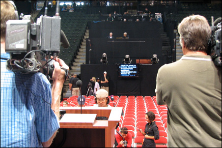 Here's the view speakers will have next week from the convention podium.