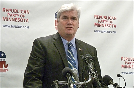 Tom Emmer vowed to keep going at a morning news conference.