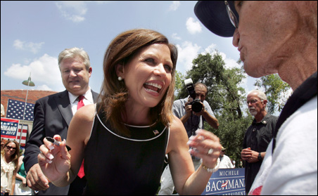 Michele Bachmann shakes hands with supporters after a rally in Columbia, South Carolina, on Thursday.