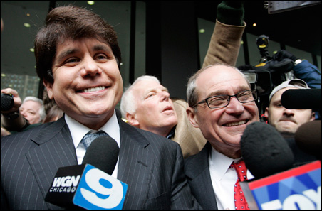 Former Illinois Gov. Rod Blagojevich, left, shown with his attorney Sheldon Sorosky, faces fraud, conspiracy, bribery, and racketeering charges.