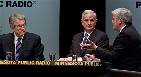 The candidates -- Tom Horner, Mark Dayton and Tom Emmer -- met in debate Sunday for the final time.