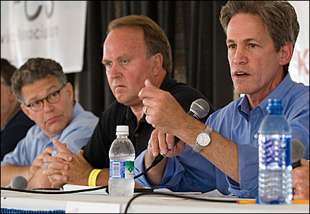 Democrat Al Franken, left, Independence Party candidate Dean Barkley, center, and Sen. Norm Coleman, R-Minn., at a U.S. Senate campaign debate Tuesday.