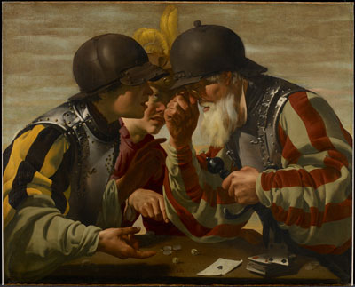 Hendrick Ter Brugghen (Dutch, 1588-1629), The Gamblers, 1623 (post-conservation), oil on canvas, The William Hood Dunwoody Fund