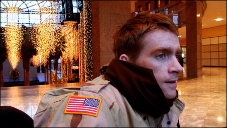 "Iraq War veteran Tomas Young visits Ground Zero in the documentary ""Body of War."""