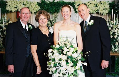 Todd Bachman, Barbara Bachman, Elisabeth Bachman McCutcheon and Hugh McCutcheon at Elisabeth and Hugh's wedding in December 2006.