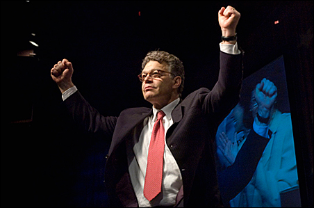 Al Franken accepts the DFL Senate nomination, promising a vigorous campaign against incumbent Norm Coleman. Despite a rousing reception for their candidate, some DFLers worry about his impact on other candidates on the ticket.