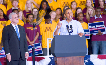 """President Obama, in Minnesota to support Mark Dayton: """"You don't have to be a great speaker to do the right things."""""""