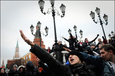 Fans of Moscow's soccer clubs and a group of right-wing protesters rally in central Moscow.