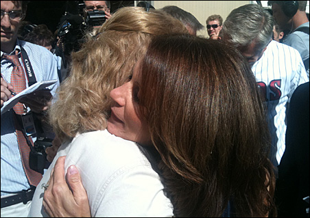 Rep. Michele Bachmann embraces a supporter during Wednesday's 6th District tour.