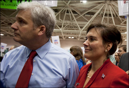 Rep. Tom Emmer and wife Jacquie listen to Rep. Marty Seifert's concession speech.