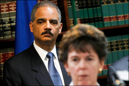 United States Attorney General Eric Holder attends a news conference to announce the arrests of 110 Mafia suspects in the Northeast, in Brooklyn, New York.
