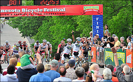 Alejandro Borrajo and teammate Lucas Sebastian Haedo celebrate their win at the Cannon Falls Road Race during the 2009 Nature Valley event.