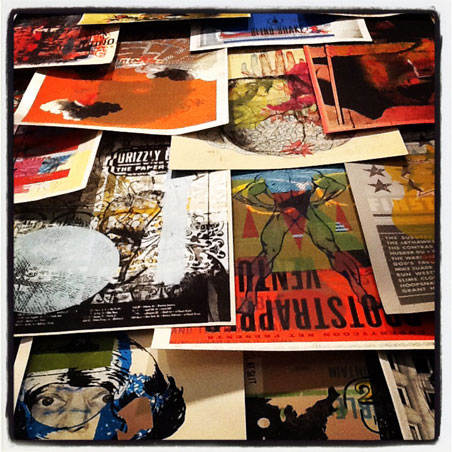 A wall of Aesthetic Apparatus posters on display at the Walker Art Center