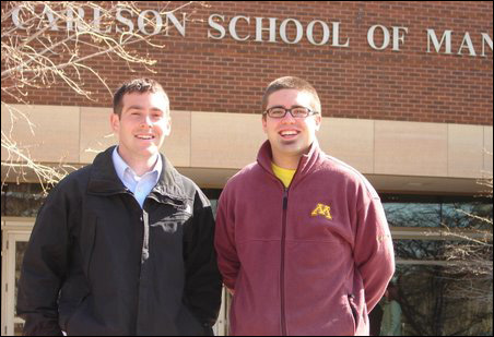 Brian Peterson, left, and Eric Larsen pushed for an undergraduate major in nonprofit management at Carlson's School of Management.