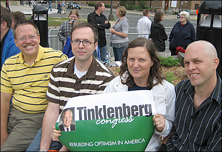 """""""The Daily Show"""" devotees, from left: Dan Evenson, Bill Evenson, Cathy Jensen, Mike Evenson and the candidate of their choice."""