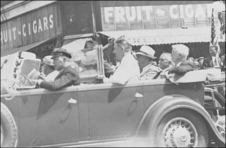 Floyd B. Olson, center, riding with, left to right, Franklin D. Roosevelt and Drs. William and Charles Mayo in 1936.