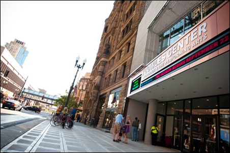 The just-opened Cowles Center for Dance and the Performing Arts and its Hennepin Avenue neighbors