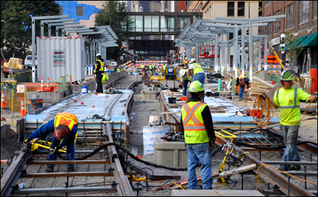 Rail beds and platforms on Fourth Street in front of Union Depot in Saint Paul