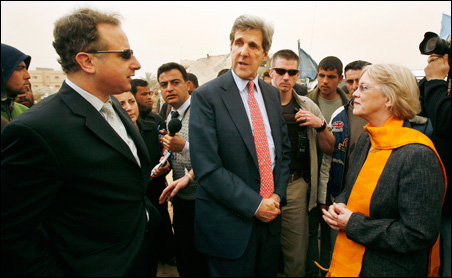 Sen. John Kerry, who along with Reps. Keith Ellison and Brian Baird, made a rare trip to Gaza today.