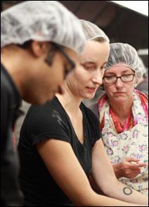 Melanie Christensen (middle) and her pie-baking helpers