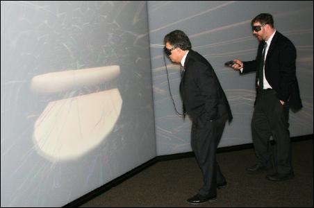Senator Al Franken explores the interior of a human heart at the U of M Medical Devices Center.