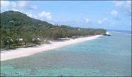 The island Rarotonga of the Cook Islands.