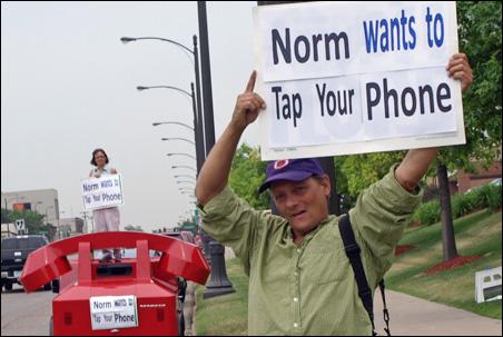 Protester Hunter Mann on University Avenue Monday.