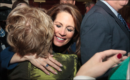 Rep. Michele Bachmann hugging a supporter at her Iowa Caucus rally in West Des Moines on Tuesday.