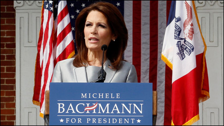 Rep. Michele Bachmann announcing her candidacy in Waterloo on Monday.