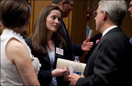 Jaime Tincher, center, shown speaking with Margaret Anderson Kelliher's running mate John Gunyou.