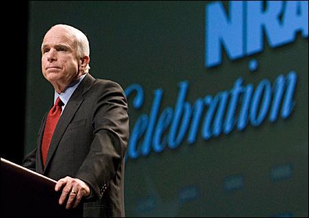 Sen. John McCain addresses members of the NRA in Louisville.