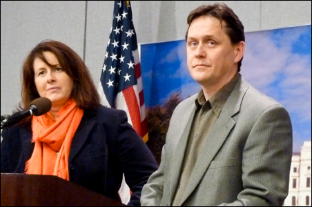 GOP leaders Sen. Amy Koch and Rep. Matt Dean briefed reporters Friday.