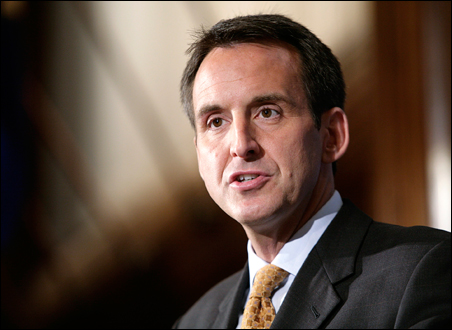 Tim Pawlenty speaking at the National Press Club in Washington earlier this month. The GOP convention in St. Paul will put Minnesota's governor on center stage.