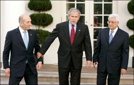 Prime Minister Olmert, President Bush, President Abbas