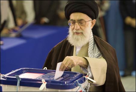 Ayatollah Ali Khamenei casts his ballot in Iran's parliamentary election.