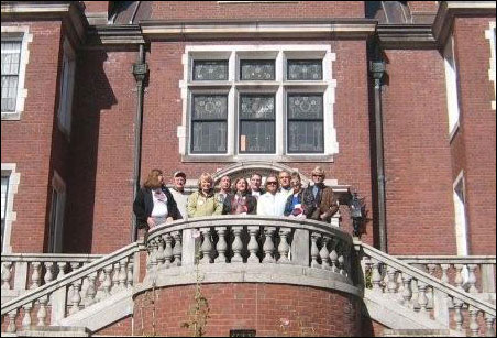 The MinnPost tour group at the back entrance to Glensheen