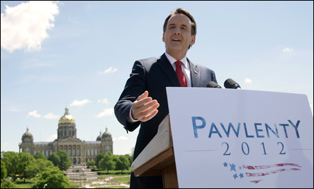 Tim Pawlenty launched his presidential campaign in Des Moines, Iowa, on May 23.  Less than three months later, he withdrew from the GOP race.