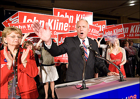 """Rep. John Kline called election night """"bittersweet"""" with his victory and John McCain's loss."""