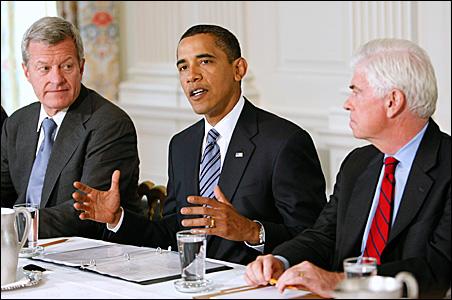Sen. Max Baucus, President Obama, Sen. Christopher Dodd