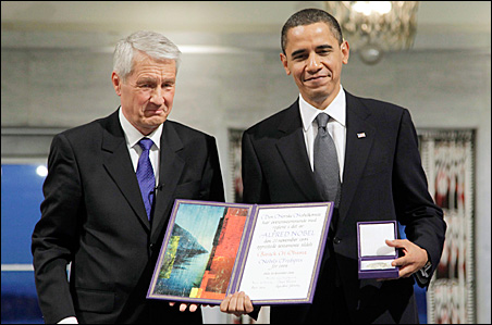 U.S. President and Nobel Peace Prize laureate Barack Obama with Nobel Committee Chairman Thorbjorn Jagland