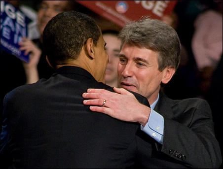 Barack Obama and R.T. Rybak in Minneapolis last year.