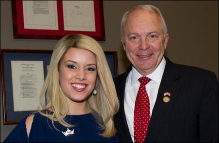 Miss America Teresa Scanlan posing with Rep. John Kline in his office on Wednesday.