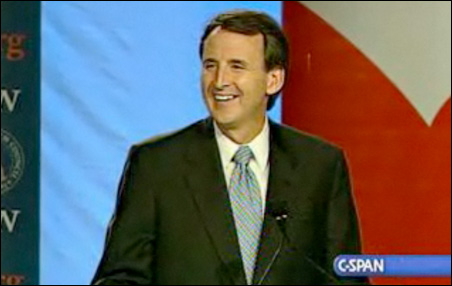 A screen shot of Gov. Tim Pawlenty during his speech to the 2009 Values Voter Summit.