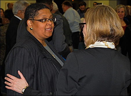 Minneapolis Public Schools Deputy Superintendent Bernadeia Johnson greets North Minneapolis residents during a meeting earlier this week.
