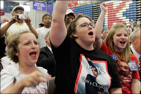 Supporters of Barack Obama cheer as the presidential candidate is introduced during a campaign stop in Kokomo, Ind.