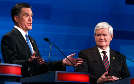 Mitt Romney and Newt Gingrich sparring during Monday night's debate.