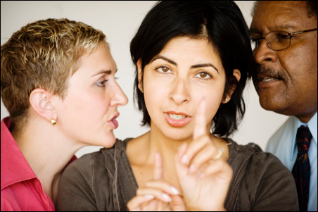 """Katy McEwan, Aditi Kapil and Warren Bowles in """"Distracted,"""" opening Friday at Mixed Blood Theatre."""