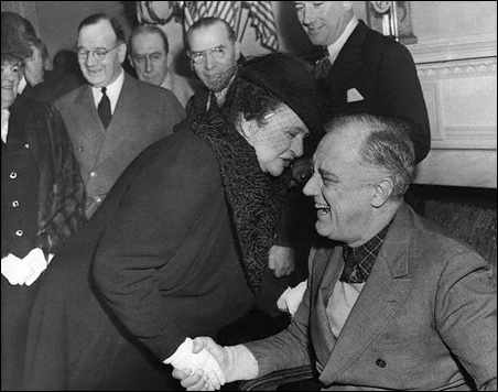 Frances Perkins, shown greeting President Franklin D. Roosevelt upon his return from the 1943 Tehran Conference, was a major designer of the ground-breaking Social Security program.